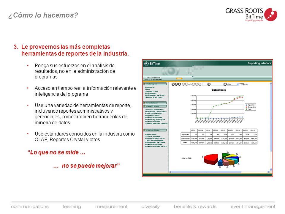 3.Le proveemos las más completas herramientas de reportes de la industria. Ponga sus esfuerzos en el análisis de resultados, no en la administración d