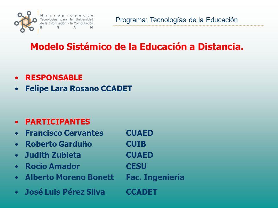 Programa: Tecnologías de la Educación RESPONSABLE Felipe Lara Rosano CCADET PARTICIPANTES Francisco Cervantes CUAED Roberto GarduñoCUIB Judith Zubieta
