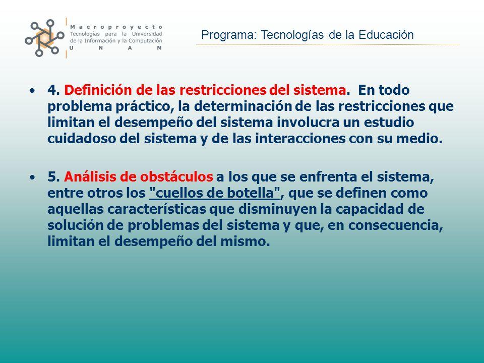 Programa: Tecnologías de la Educación 4. Definición de las restricciones del sistema. En todo problema práctico, la determinación de las restricciones