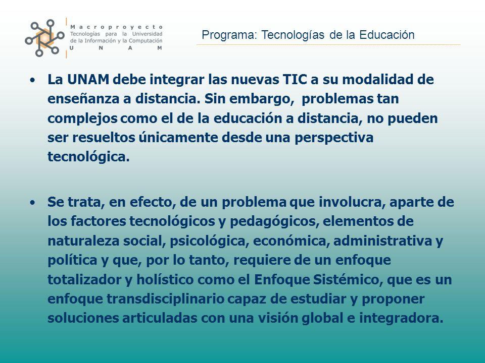 Programa: Tecnologías de la Educación La UNAM debe integrar las nuevas TIC a su modalidad de enseñanza a distancia. Sin embargo, problemas tan complej