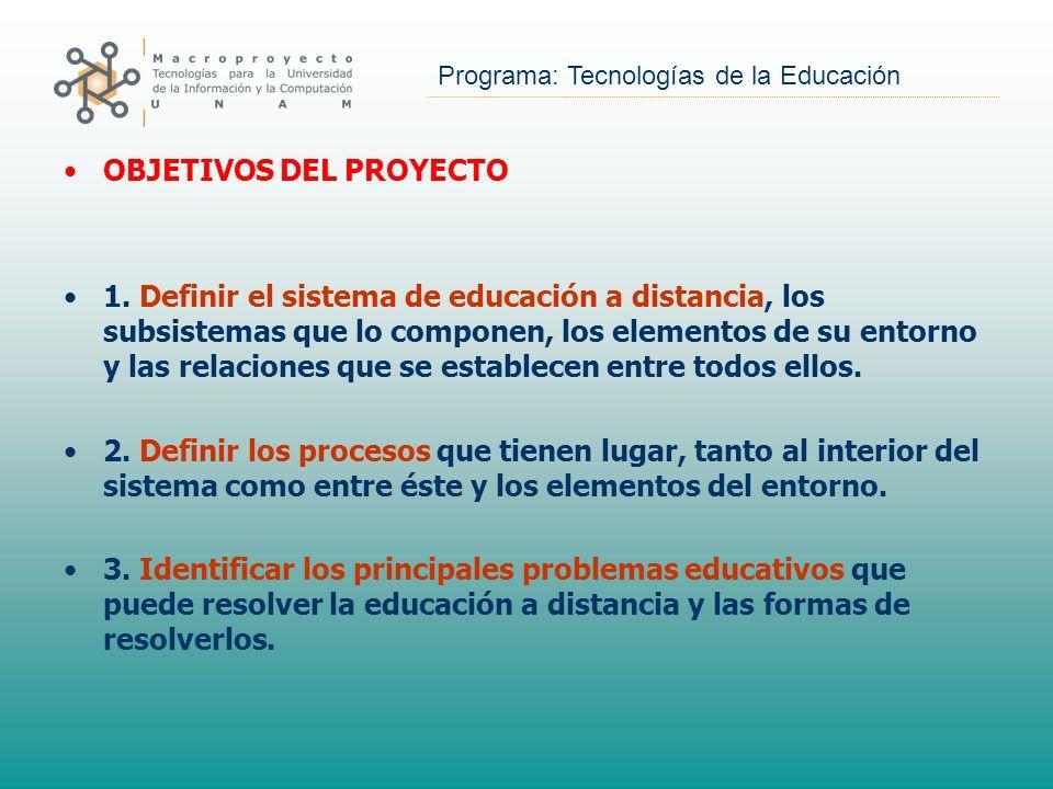 Programa: Tecnologías de la Educación OBJETIVOS DEL PROYECTO 1. Definir el sistema de educación a distancia, los subsistemas que lo componen, los elem
