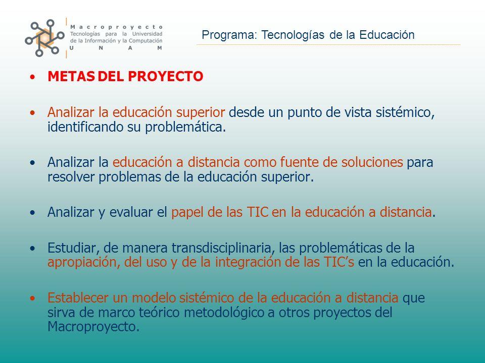 Programa: Tecnologías de la Educación METAS DEL PROYECTO Analizar la educación superior desde un punto de vista sistémico, identificando su problemáti