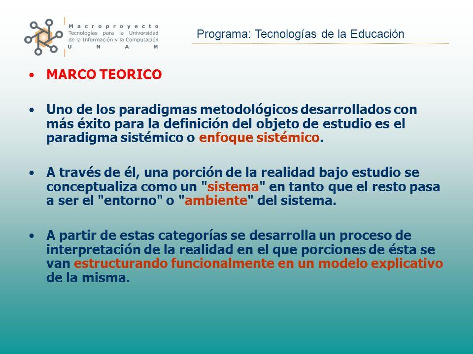 Programa: Tecnologías de la Educación MARCO TEORICO Uno de los paradigmas metodológicos desarrollados con más éxito para la definición del objeto de e