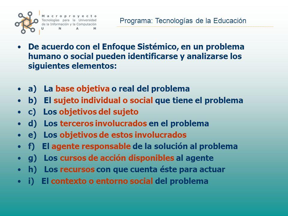 Programa: Tecnologías de la Educación De acuerdo con el Enfoque Sistémico, en un problema humano o social pueden identificarse y analizarse los siguie