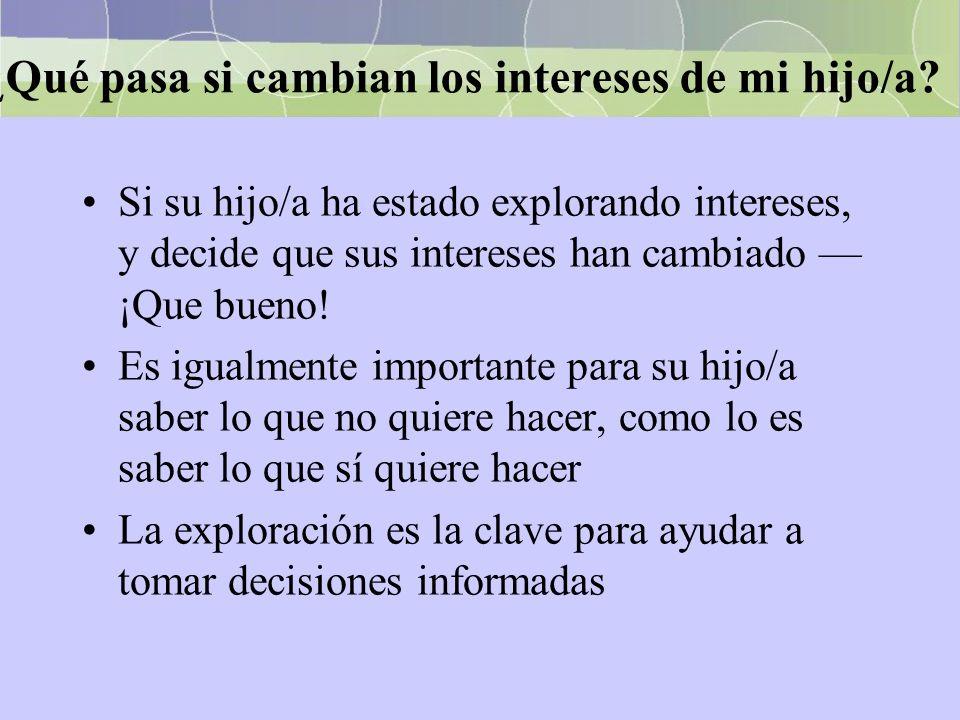 ¿ Qué pasa si cambian los intereses de mi hijo/a? Si su hijo/a ha estado explorando intereses, y decide que sus intereses han cambiado ¡Que bueno! Es