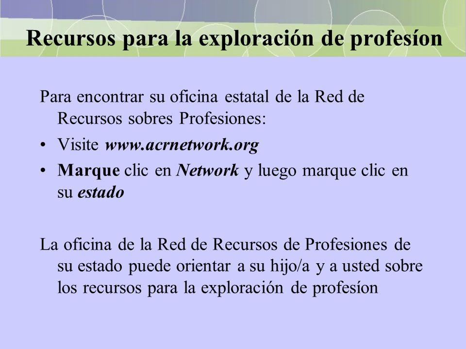 Recursos para la exploración de profesíon Para encontrar su oficina estatal de la Red de Recursos sobres Profesiones: Visite www.acrnetwork.org Marque
