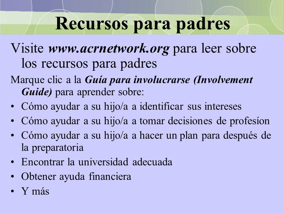 Recursos para padres Visite www.acrnetwork.org para leer sobre los recursos para padres Marque clic a la Guía para involucrarse (Involvement Guide) pa