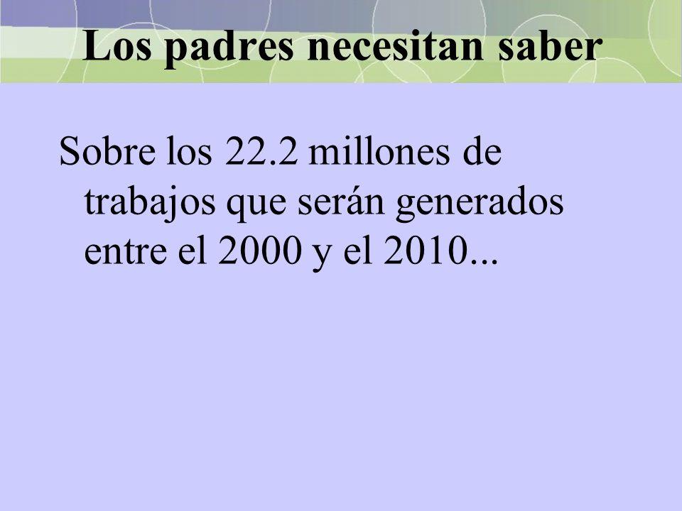 Los padres necesitan saber Sobre los 22.2 millones de trabajos que serán generados entre el 2000 y el 2010...