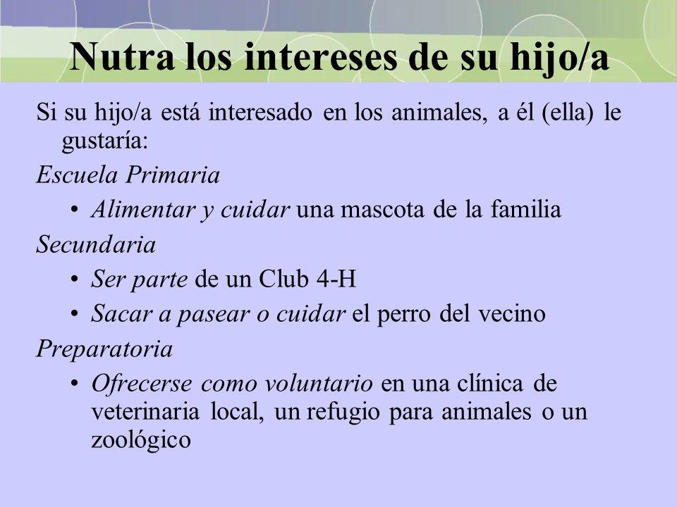 Nutra los intereses de su hijo/a Si su hijo/a está interesado en los animales, a él (ella) le gustaría: Escuela Primaria Alimentar y cuidar una mascot