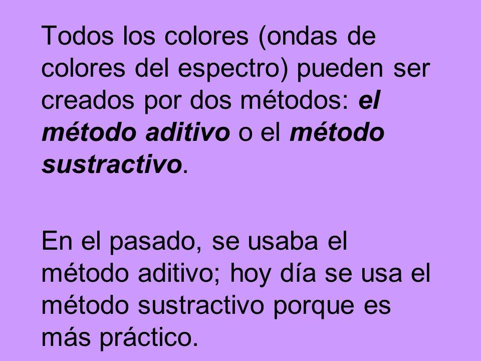 Todos los colores (ondas de colores del espectro) pueden ser creados por dos métodos: el método aditivo o el método sustractivo. En el pasado, se usab