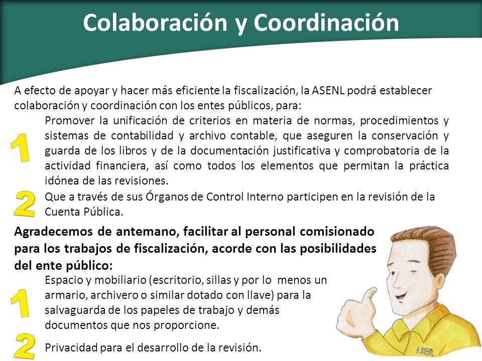 Colaboración y Coordinación Que a través de sus Órganos de Control Interno participen en la revisión de la Cuenta Pública. Espacio y mobiliario (escri