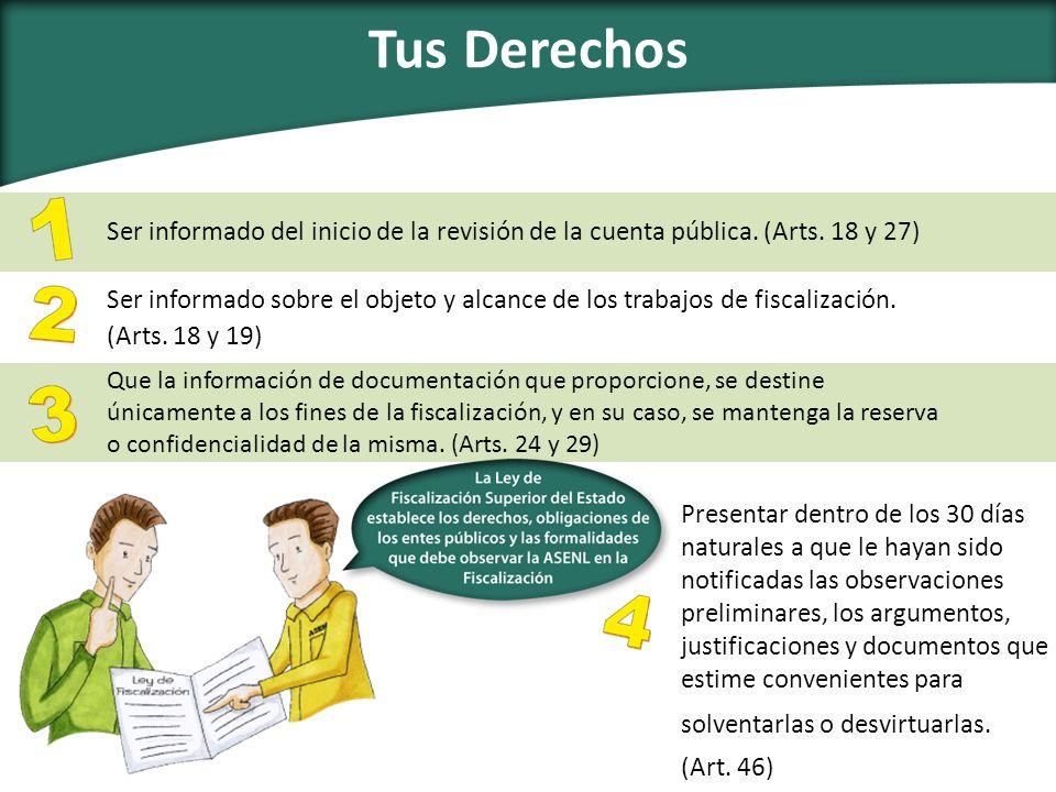 Tus Derechos Ser informado del inicio de la revisión de la cuenta pública. (Arts. 18 y 27) Ser informado sobre el objeto y alcance de los trabajos de