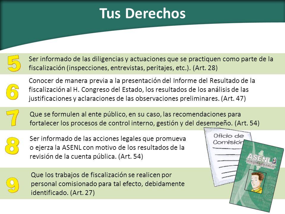 Ser informado de las diligencias y actuaciones que se practiquen como parte de la fiscalización (inspecciones, entrevistas, peritajes, etc.). (Art. 28