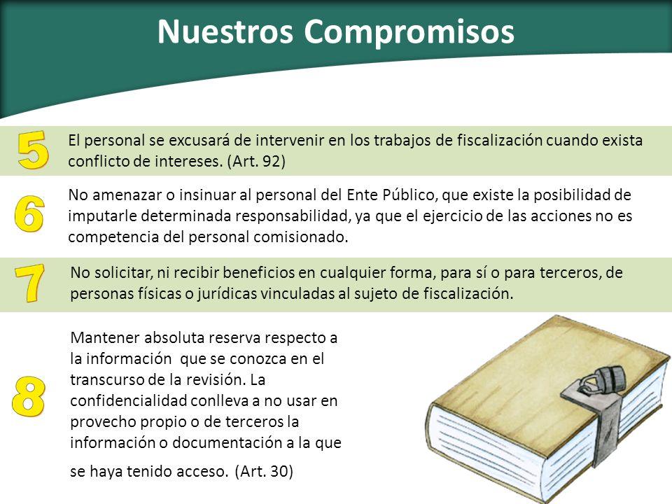 Nuestros Compromisos El personal se excusará de intervenir en los trabajos de fiscalización cuando exista conflicto de intereses. (Art. 92) No amenaza