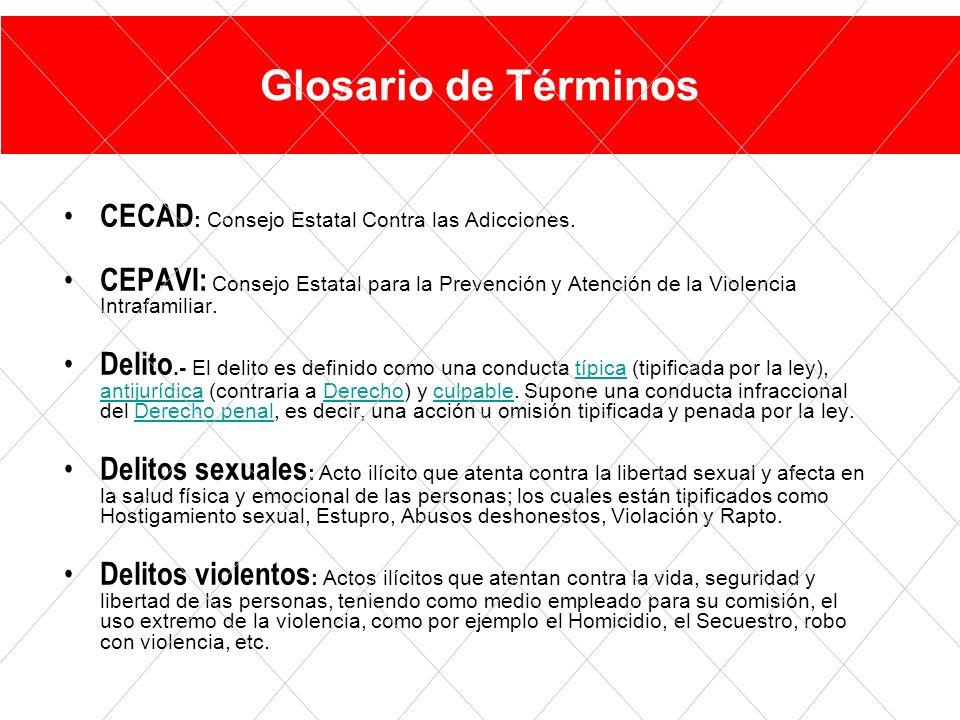CECAD : Consejo Estatal Contra las Adicciones.
