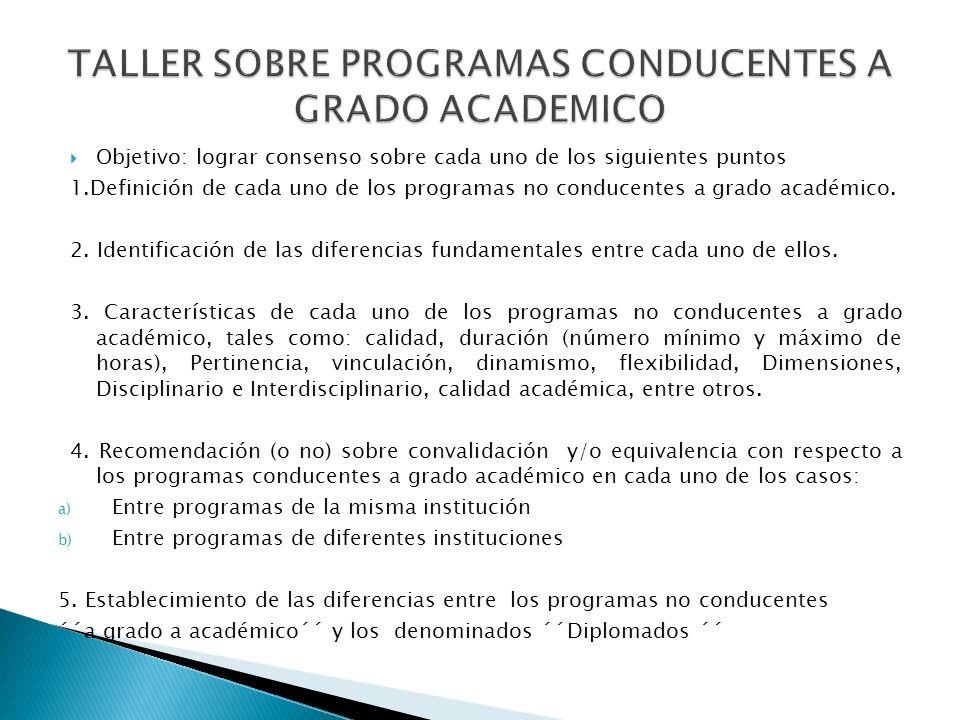 Objetivo: lograr consenso sobre cada uno de los siguientes puntos 1.Definición de cada uno de los programas no conducentes a grado académico.