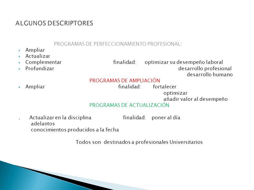 PROGRAMAS DE PERFECCIONAMIENTO PROFESIONAL: Ampliar Actualizar Complementar finalidad: optimizar su desempeño laboral Profundizar desarrollo profesional desarrollo humano PROGRAMAS DE AMPLIACIÓN Ampliar finalidad: fortalecer optimizar añadir valor al desempeño PROGRAMAS DE ACTUALIZACIÓN.