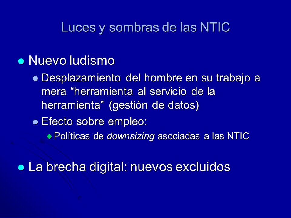Luces y sombras de las NTIC Nuevo ludismo Nuevo ludismo Desplazamiento del hombre en su trabajo a mera herramienta al servicio de la herramienta (gestión de datos) Desplazamiento del hombre en su trabajo a mera herramienta al servicio de la herramienta (gestión de datos) Efecto sobre empleo: Efecto sobre empleo: Políticas de downsizing asociadas a las NTIC Políticas de downsizing asociadas a las NTIC La brecha digital: nuevos excluidos La brecha digital: nuevos excluidos