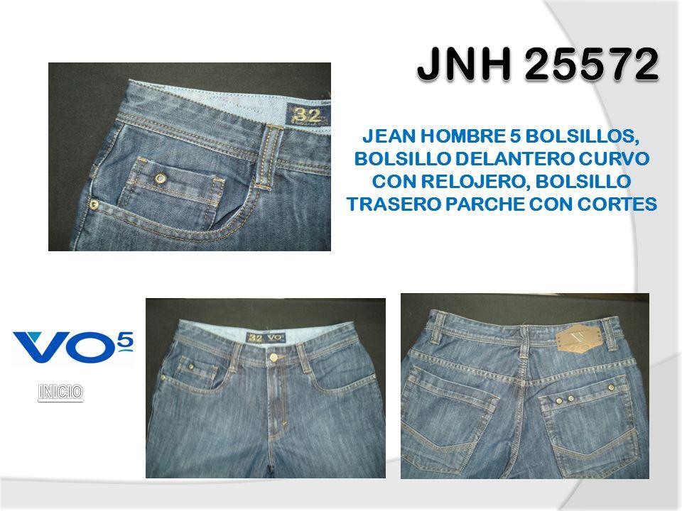 JEAN HOMBRE 5 BOLSILLOS, BOLSILLO DELANTERO CURVO CON RELOJERO, BOLSILLO TRASERO PARCHE CON CORTES