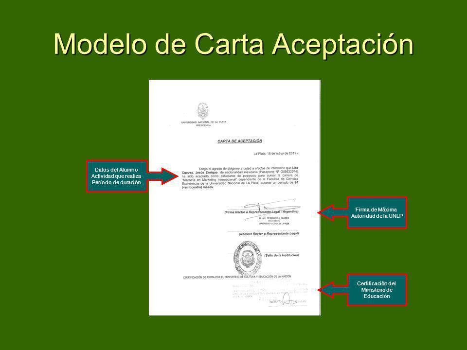 Modelo de Carta Aceptación Datos del Alumno Actividad que realiza Período de duración Firma de Máxima Autoridad de la UNLP Certificación del Ministeri