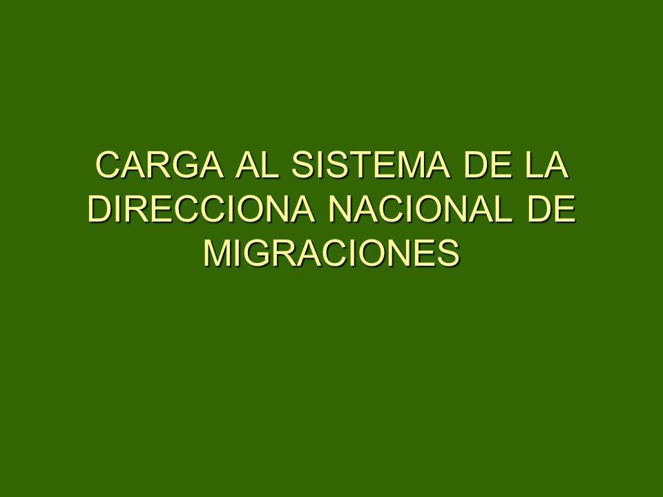 CARGA AL SISTEMA DE LA DIRECCIONA NACIONAL DE MIGRACIONES