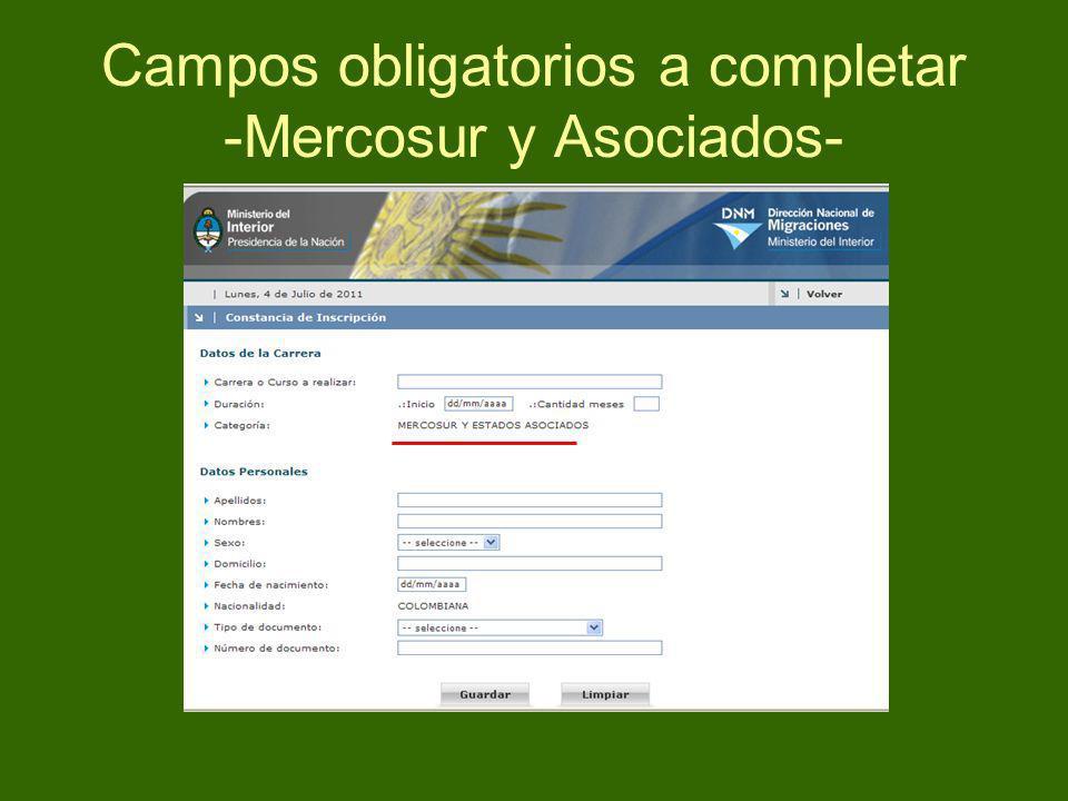 Campos obligatorios a completar -Mercosur y Asociados-