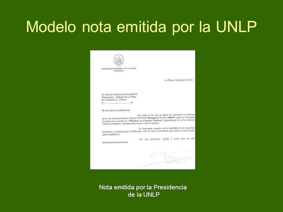 Modelo nota emitida por la UNLP Nota emitida por la Presidencia de la UNLP