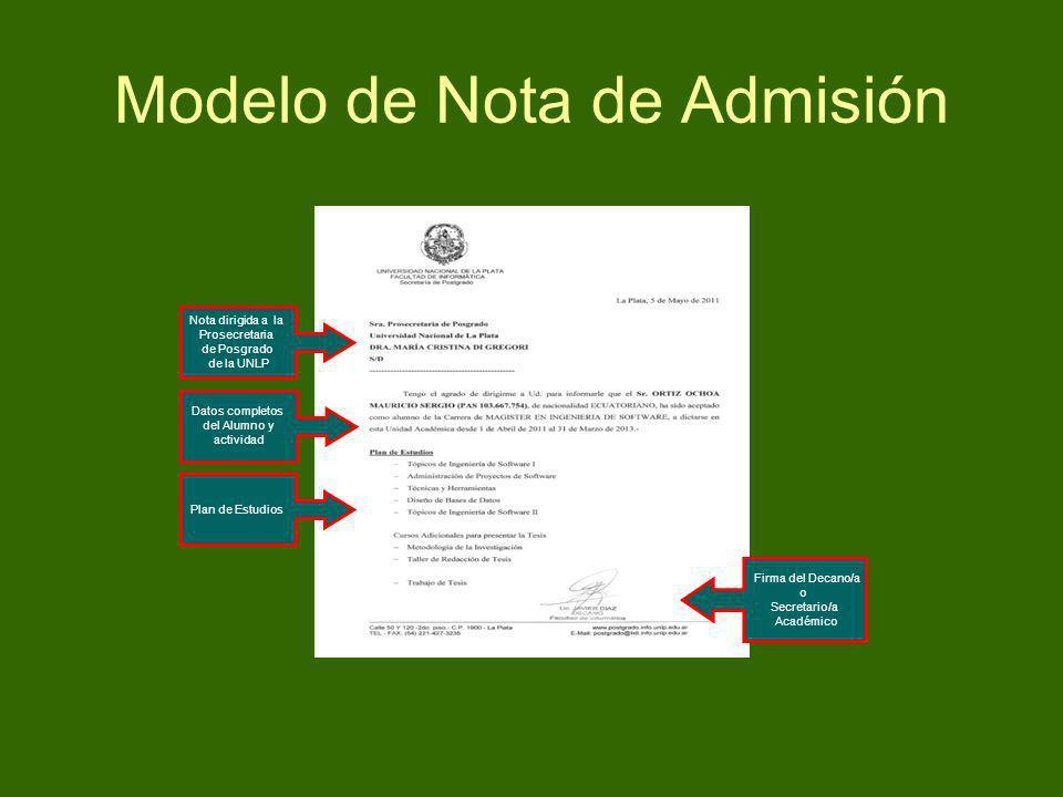 Modelo de Nota de Admisión Plan de Estudios Datos completos del Alumno y actividad Nota dirigida a la Prosecretaria de Posgrado de la UNLP Firma del D