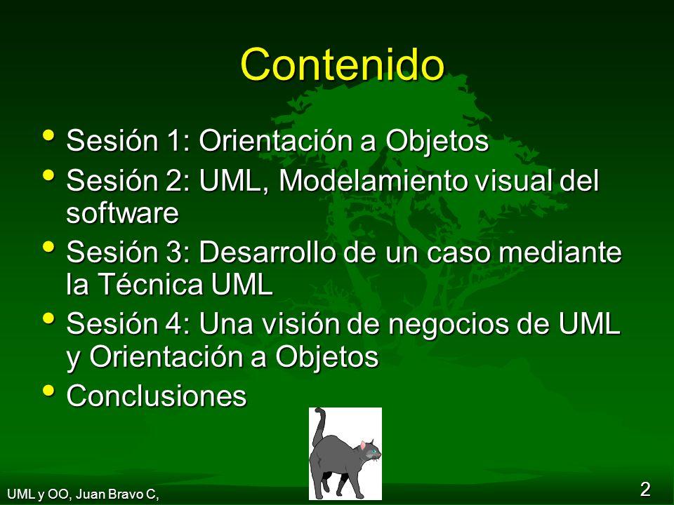 13 Conceptos Generales Clase Clase Objeto Objeto Función Función Mensaje Mensaje Independencia Independencia Enfoque sistémico Enfoque sistémico UML y OO, Juan Bravo C,