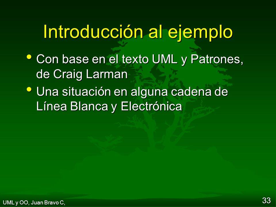 33 Introducción al ejemplo Con base en el texto UML y Patrones, de Craig Larman Con base en el texto UML y Patrones, de Craig Larman Una situación en alguna cadena de Línea Blanca y Electrónica Una situación en alguna cadena de Línea Blanca y Electrónica UML y OO, Juan Bravo C,