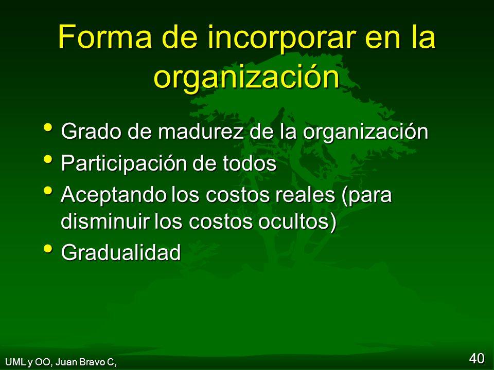 40 Forma de incorporar en la organización Grado de madurez de la organización Grado de madurez de la organización Participación de todos Participación de todos Aceptando los costos reales (para disminuir los costos ocultos) Aceptando los costos reales (para disminuir los costos ocultos) Gradualidad Gradualidad UML y OO, Juan Bravo C,