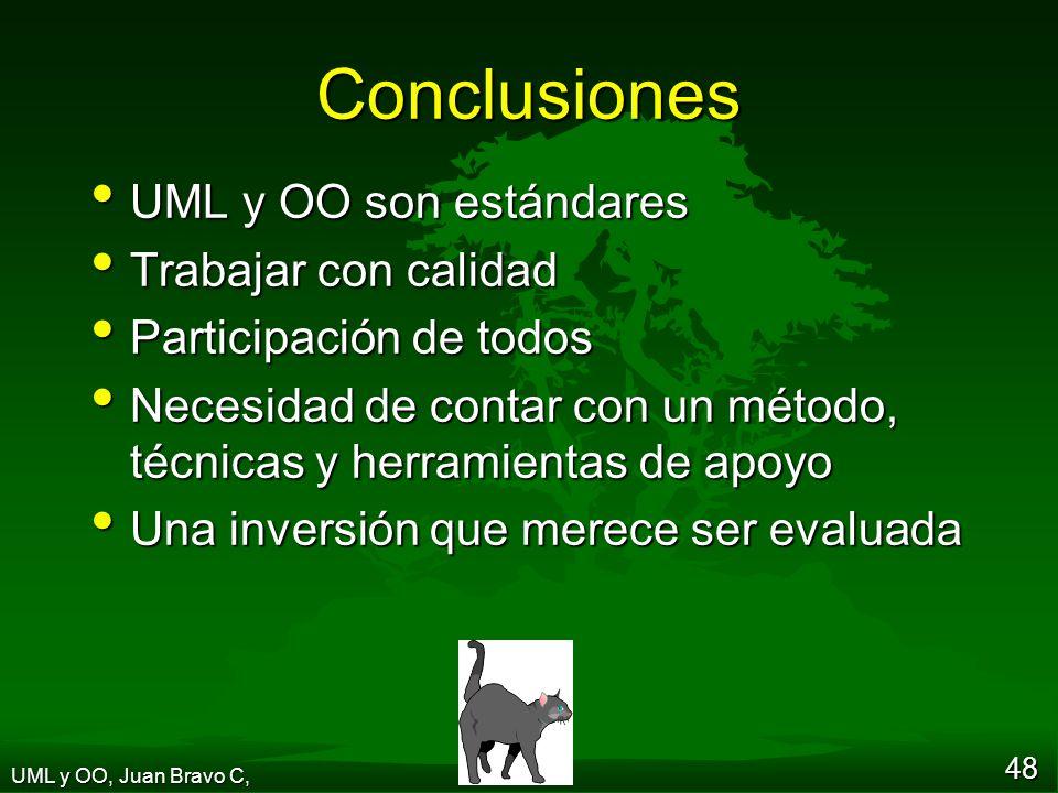48 Conclusiones UML y OO son estándares UML y OO son estándares Trabajar con calidad Trabajar con calidad Participación de todos Participación de todos Necesidad de contar con un método, técnicas y herramientas de apoyo Necesidad de contar con un método, técnicas y herramientas de apoyo Una inversión que merece ser evaluada Una inversión que merece ser evaluada UML y OO, Juan Bravo C,