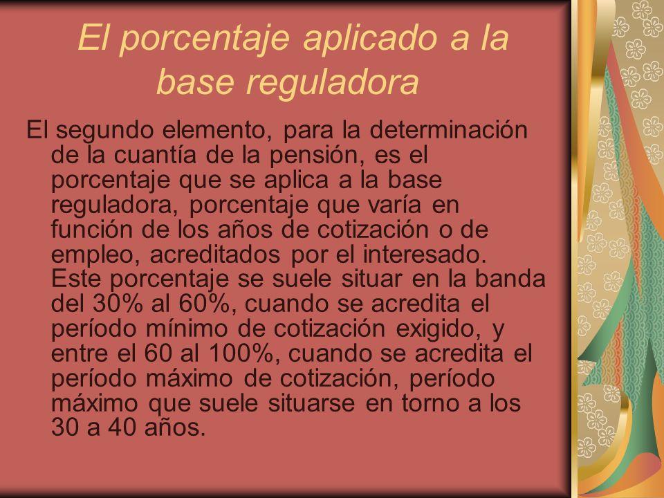 El porcentaje aplicado a la base reguladora El segundo elemento, para la determinación de la cuantía de la pensión, es el porcentaje que se aplica a l