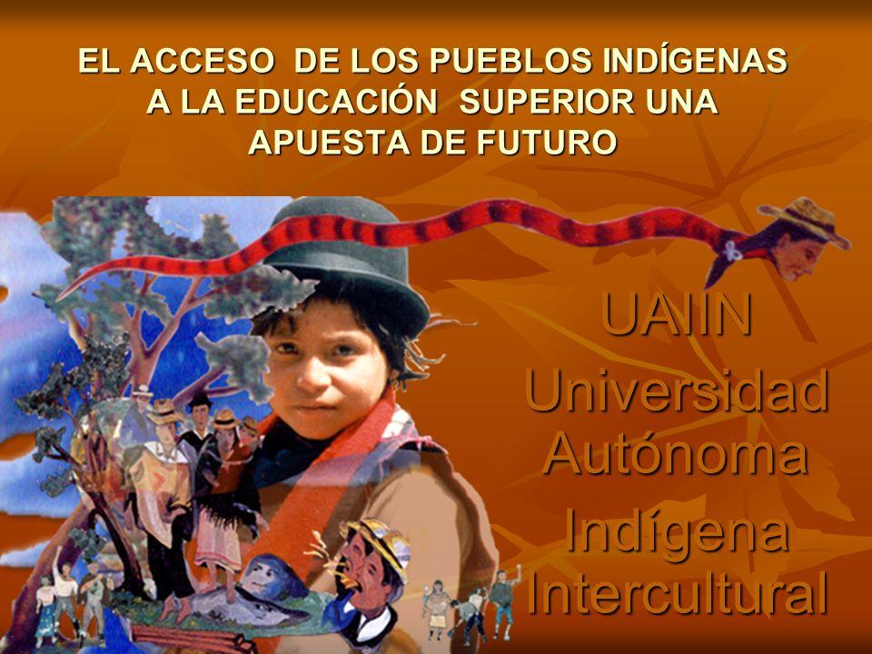EL ACCESO DE LOS PUEBLOS INDÍGENAS A LA EDUCACIÓN SUPERIOR UNA APUESTA DE FUTURO UAIIN Universidad Autónoma Indígena Intercultural