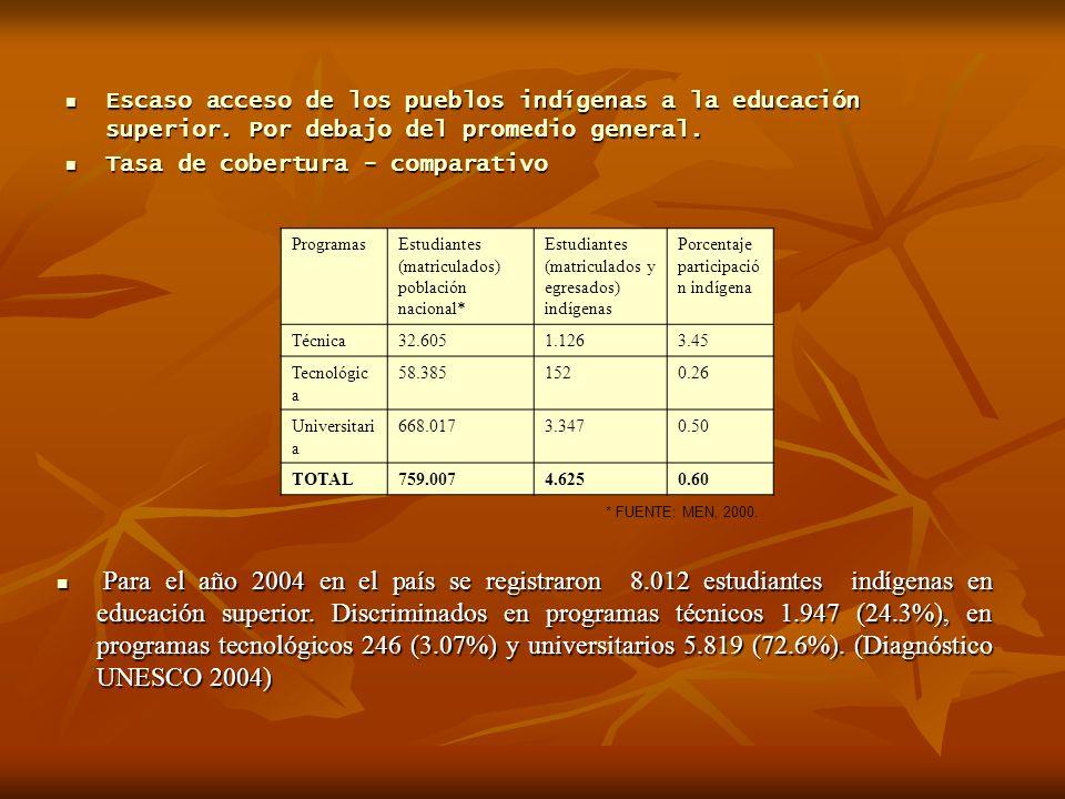 Escaso acceso de los pueblos indígenas a la educación superior.