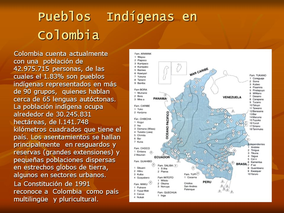 Pueblos Indígenas en Colombia Colombia cuenta actualmente con una población de 42.975.715 personas, de las cuales el 1.83% son pueblos indígenas representados en más de 90 grupos, quienes hablan cerca de 65 lenguas autóctonas.