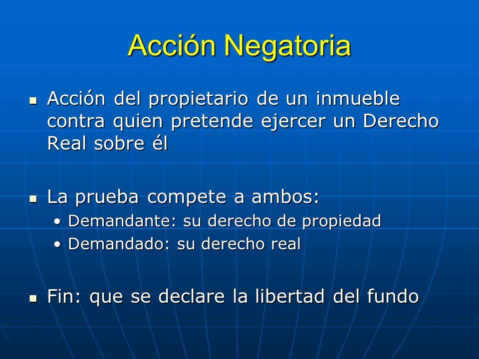 Acción Negatoria Acción del propietario de un inmueble contra quien pretende ejercer un Derecho Real sobre él Acción del propietario de un inmueble co