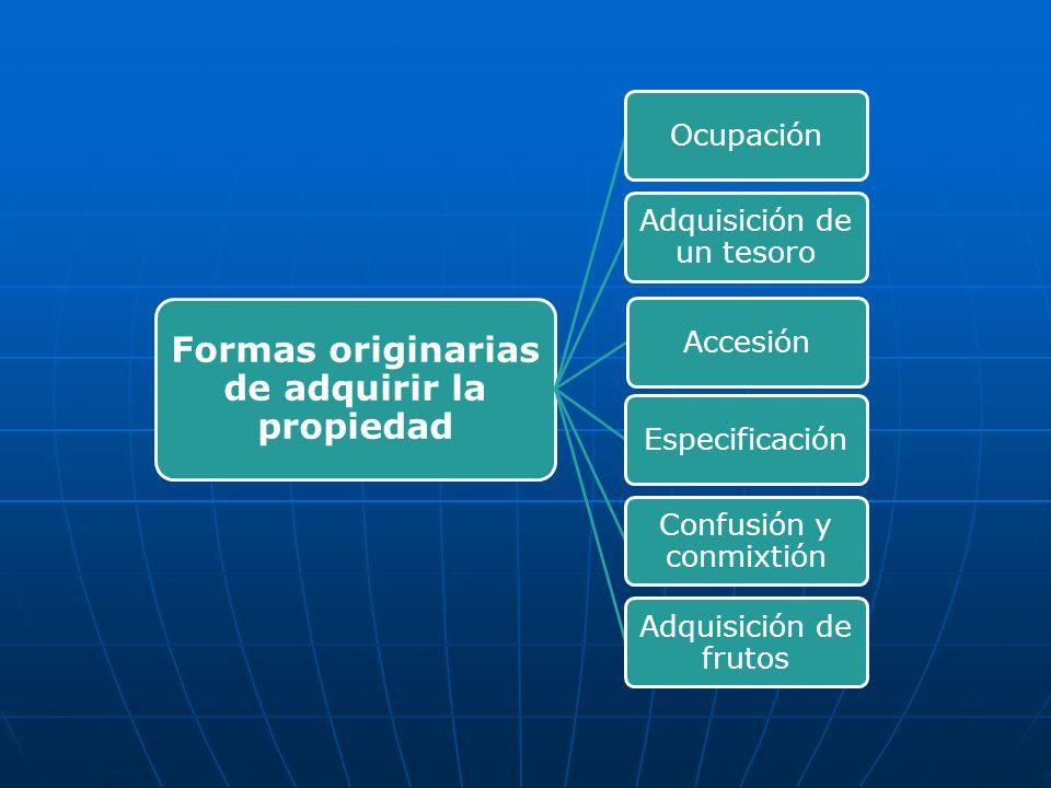 Formas originarias de adquirir la propiedad Ocupación Adquisición de un tesoro Accesión Especificación Confusión y conmixtión Adquisición de frutos