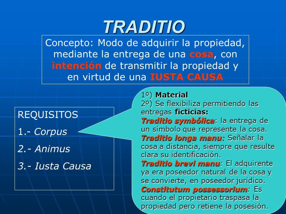 TRADITIO Concepto: Modo de adquirir la propiedad, mediante la entrega de una cosa, con intención de transmitir la propiedad y en virtud de una IUSTA C