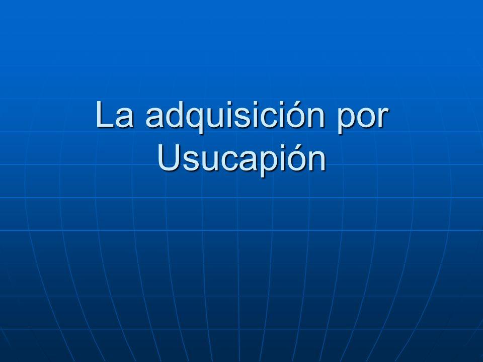 La adquisición por Usucapión