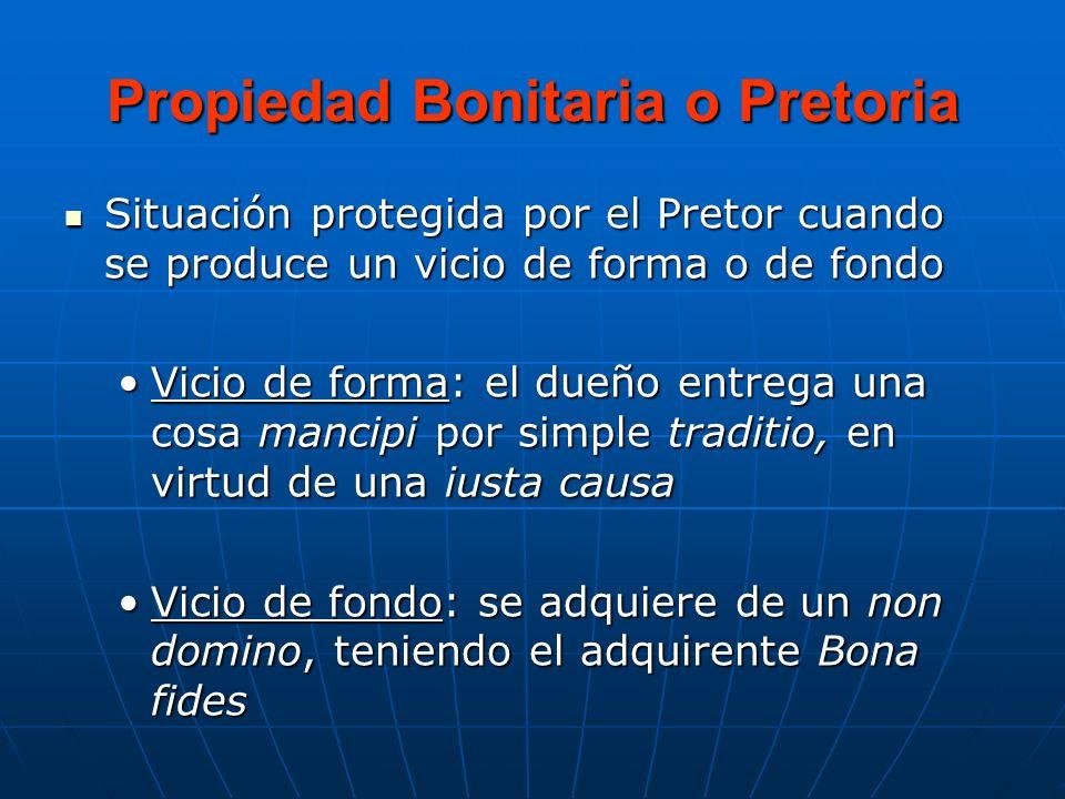 Propiedad Bonitaria o Pretoria Situación protegida por el Pretor cuando se produce un vicio de forma o de fondo Situación protegida por el Pretor cuan