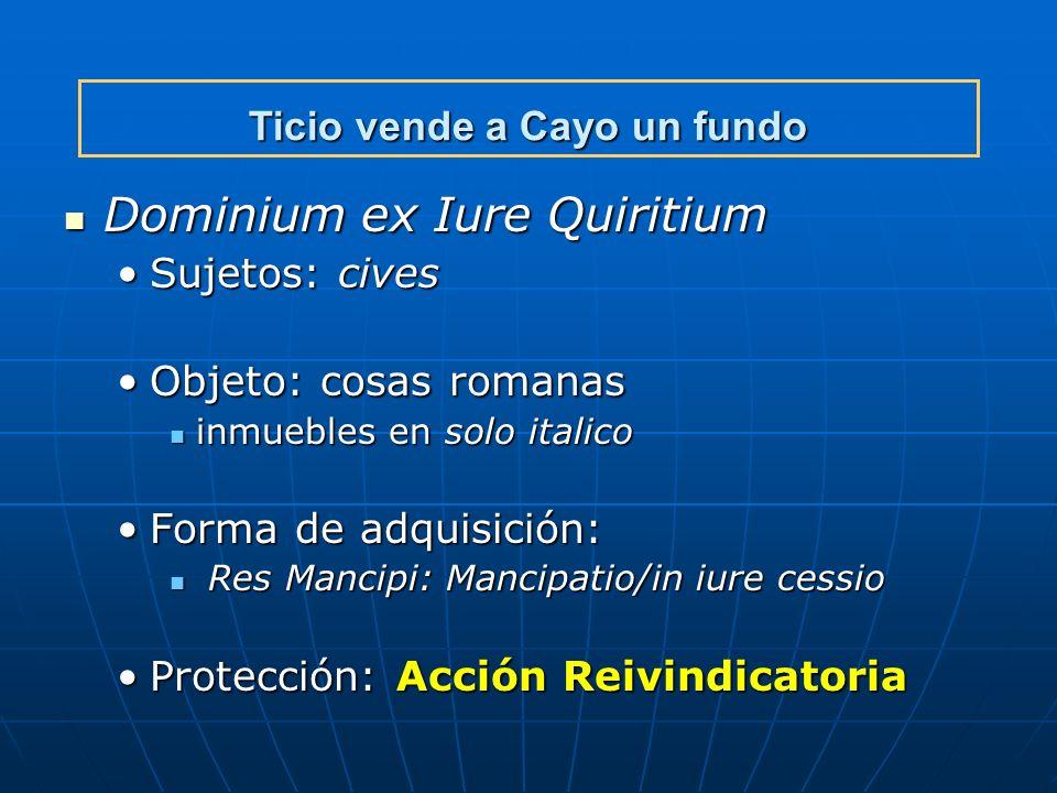 Ticio vende a Cayo un fundo Dominium ex Iure Quiritium Dominium ex Iure Quiritium Sujetos: civesSujetos: cives Objeto: cosas romanasObjeto: cosas roma
