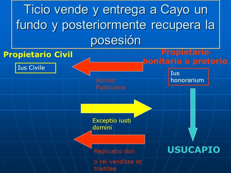 Ticio vende y entrega a Cayo un fundo y posteriormente recupera la posesión Propietario Civil Propietario bonitario o pretorio Ius Civile Ius honorari