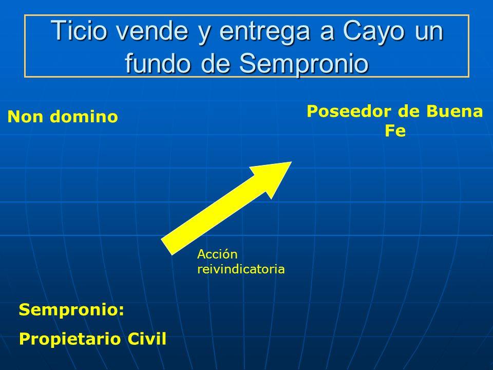 Ticio vende y entrega a Cayo un fundo de Sempronio Non domino Poseedor de Buena Fe Acción reivindicatoria Sempronio: Propietario Civil