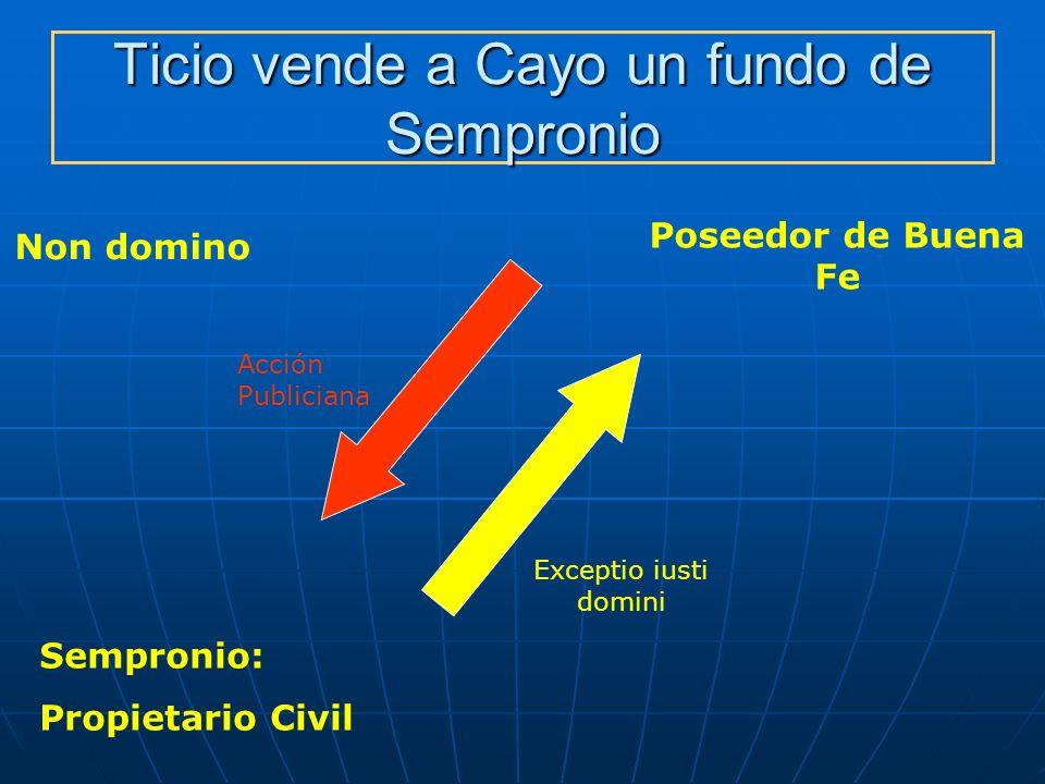 Ticio vende a Cayo un fundo de Sempronio Non domino Poseedor de Buena Fe Acción Publiciana Sempronio: Propietario Civil Exceptio iusti domini