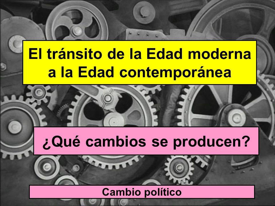 El tránsito de la Edad moderna a la Edad contemporánea ¿Qué cambios se producen? Cambio político Paso del ESTADO ABSOLUTISTA (el poder concentrado en