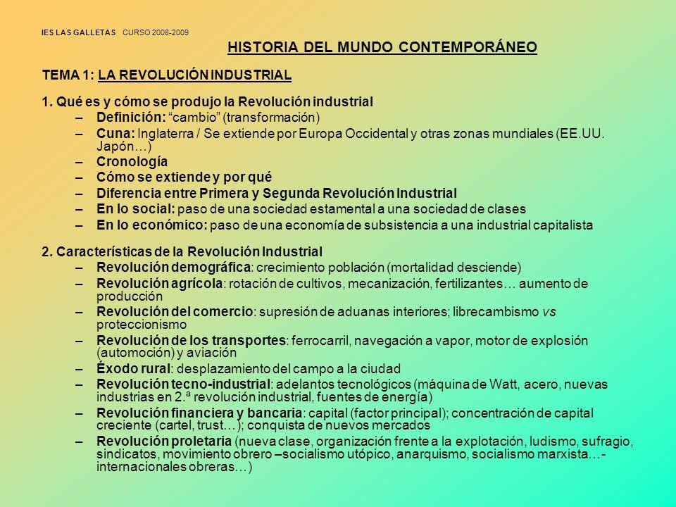 IES LAS GALLETAS CURSO 2008-2009 HISTORIA DEL MUNDO CONTEMPORÁNEO TEMA 1: LA REVOLUCIÓN INDUSTRIAL 1. Qué es y cómo se produjo la Revolución industria