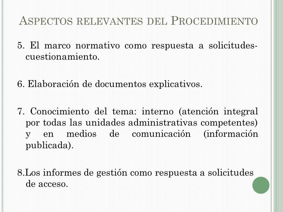A SPECTOS RELEVANTES DEL P ROCEDIMIENTO 5.