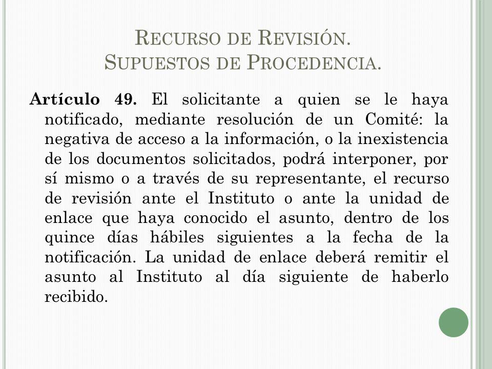R ECURSO DE R EVISIÓN.S UPUESTOS DE P ROCEDENCIA.