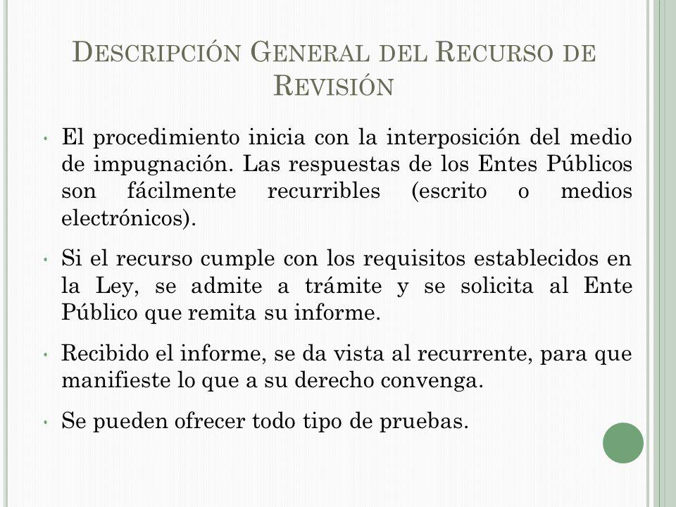 D ESCRIPCIÓN G ENERAL DEL R ECURSO DE R EVISIÓN El procedimiento inicia con la interposición del medio de impugnación.